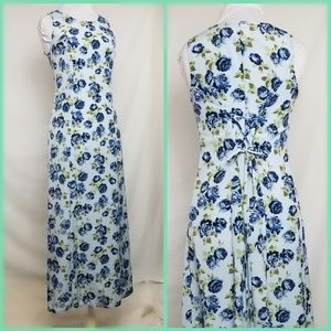90s Lace Up Back Floral Maxi Blue Roses Small  Vtg